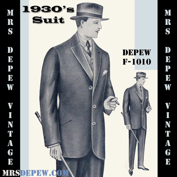 Menswear Vintage Sewing Pattern 1930\'s Men\'s Suit Coat and Trousers ...