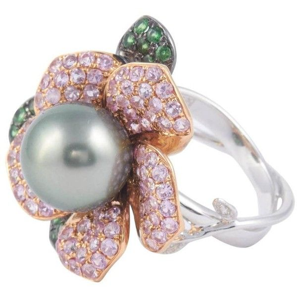 Tahitian Cultured Pearl Diamond Gold Ring ($3,420) ❤ liked on Polyvore featuring jewelry, rings, multiple, diamond jewellery, 18k diamond ring, yellow gold rings, gold jewelry and 18k gold ring