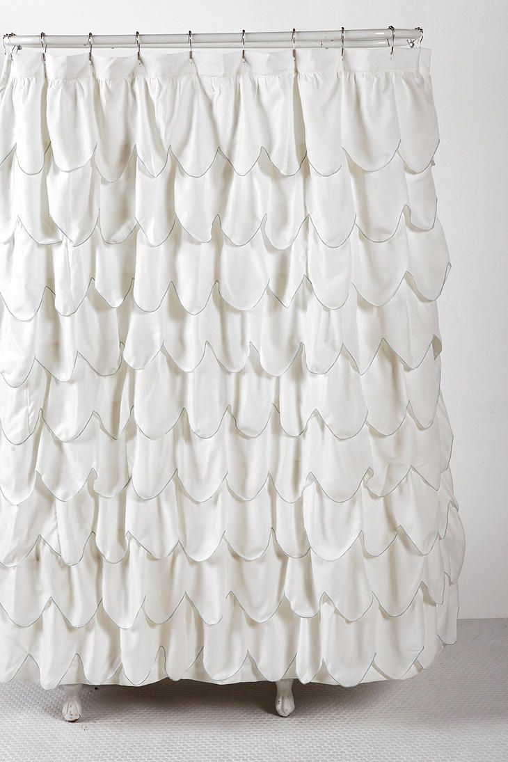 Stitched Scallop Ruffle Shower Curtain Ruffle Shower Curtains
