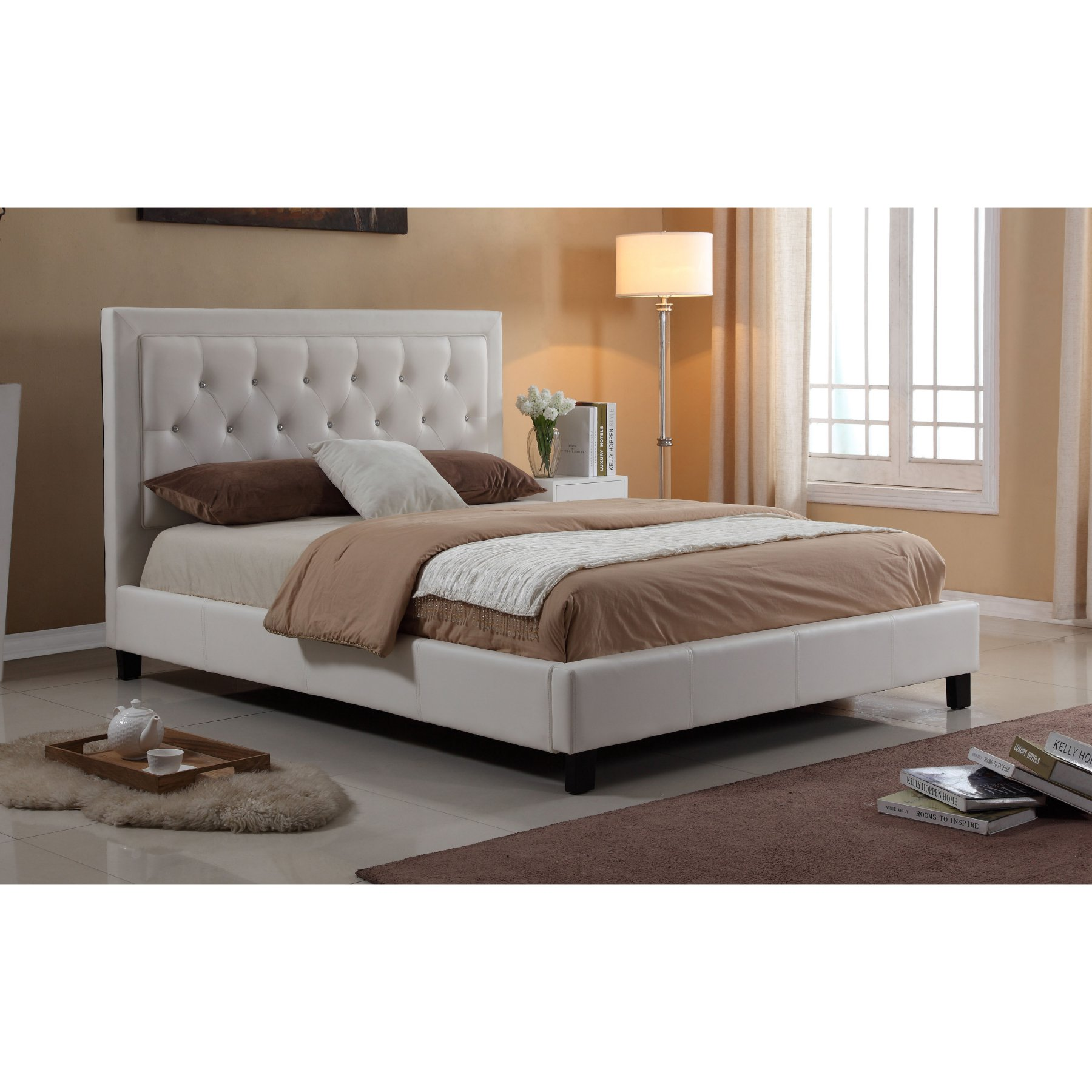 Milton Greens Stars Isabella Diamond Tufted Platform Bed  7518F Wh