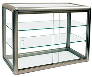 Metal And Glass Countertop Display Case 3 Shelf Countertop