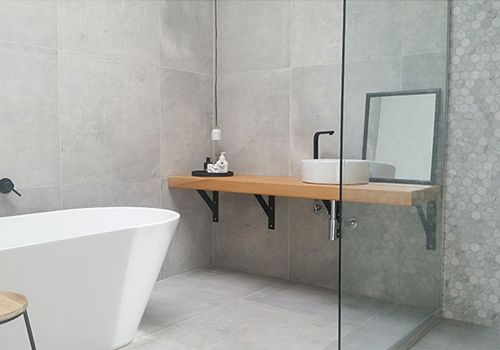 concrete tiles bathroom
