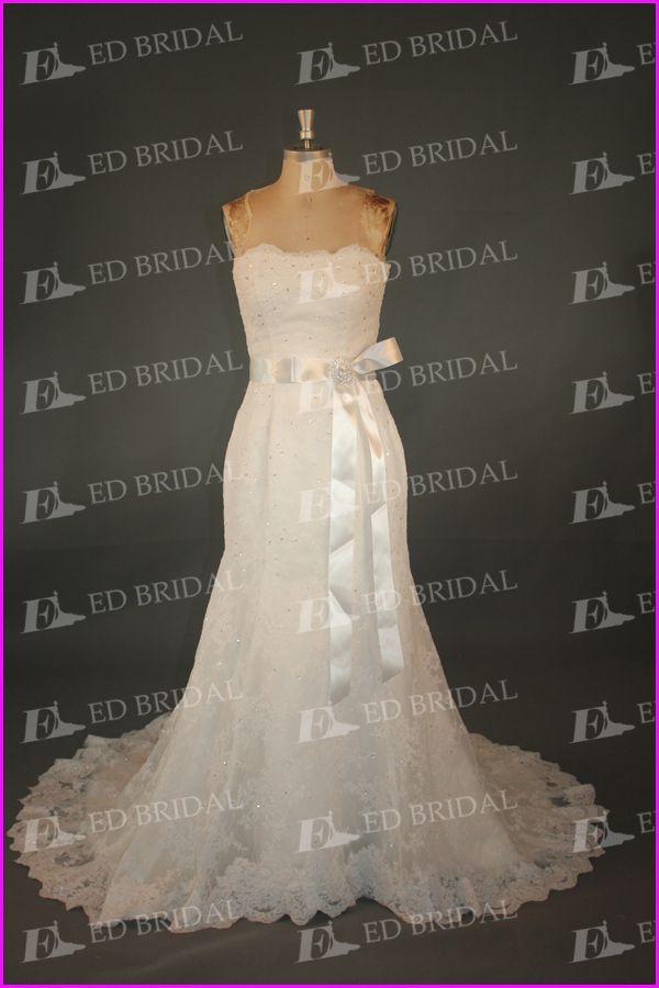 lace pattern strapless sash bow sparkle beading wedding dress