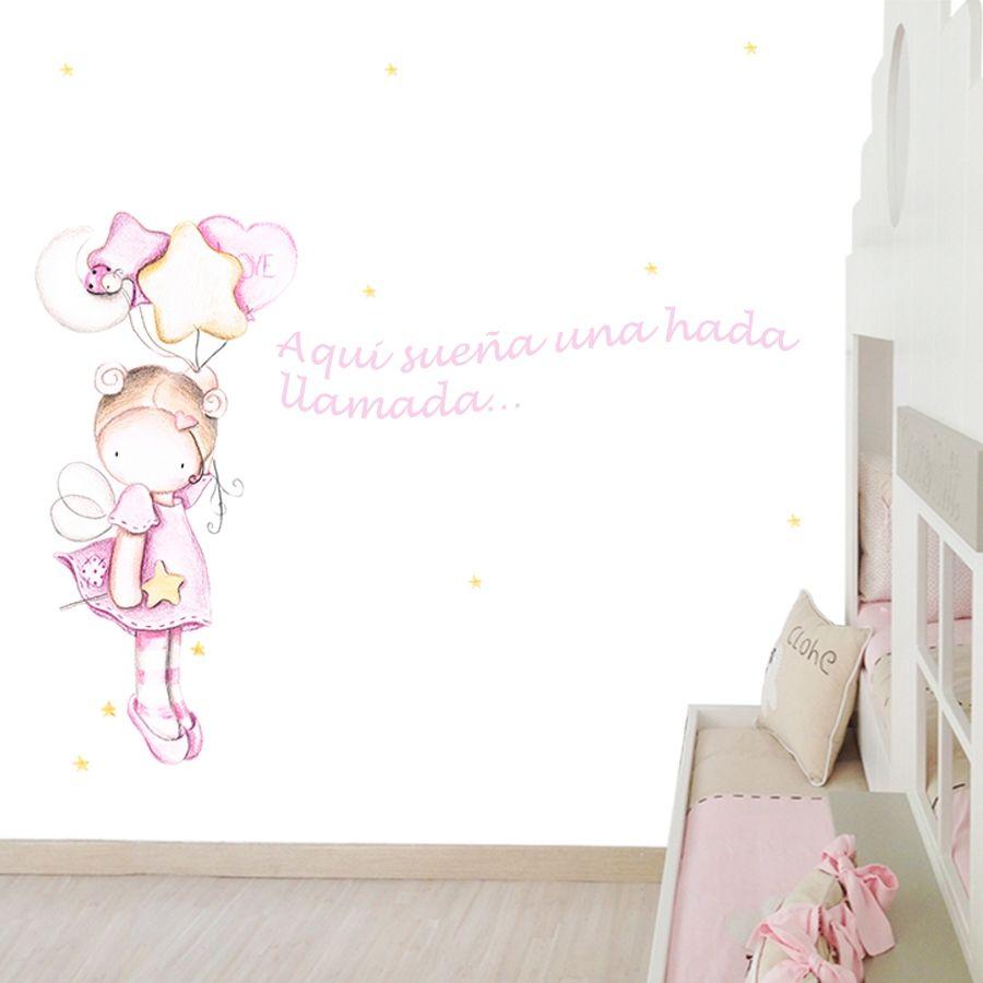 """Mural infantil personalizado """"Hada globos"""""""