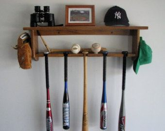 Baseball Bat Rack Decorative Oak Wall Shelf Display 5 Bats, Pictures,  Trophies And