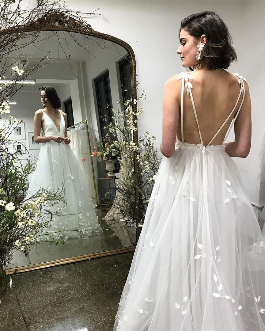 Wedding dresses beach  white tulle a line beach wedding dresses deep v enck backledd