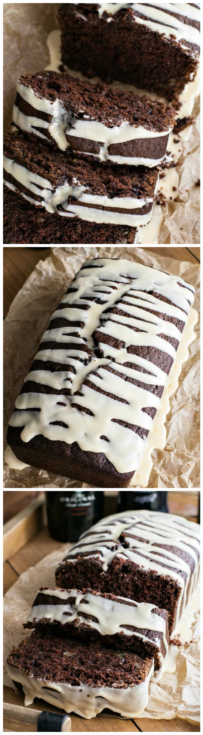 Baileys Dark Chocolate Guinness Bread - Rich and dark chocolate Guinness bread laced with chocolate chips and walnuts then frosted with a sweet Baileys glaze.