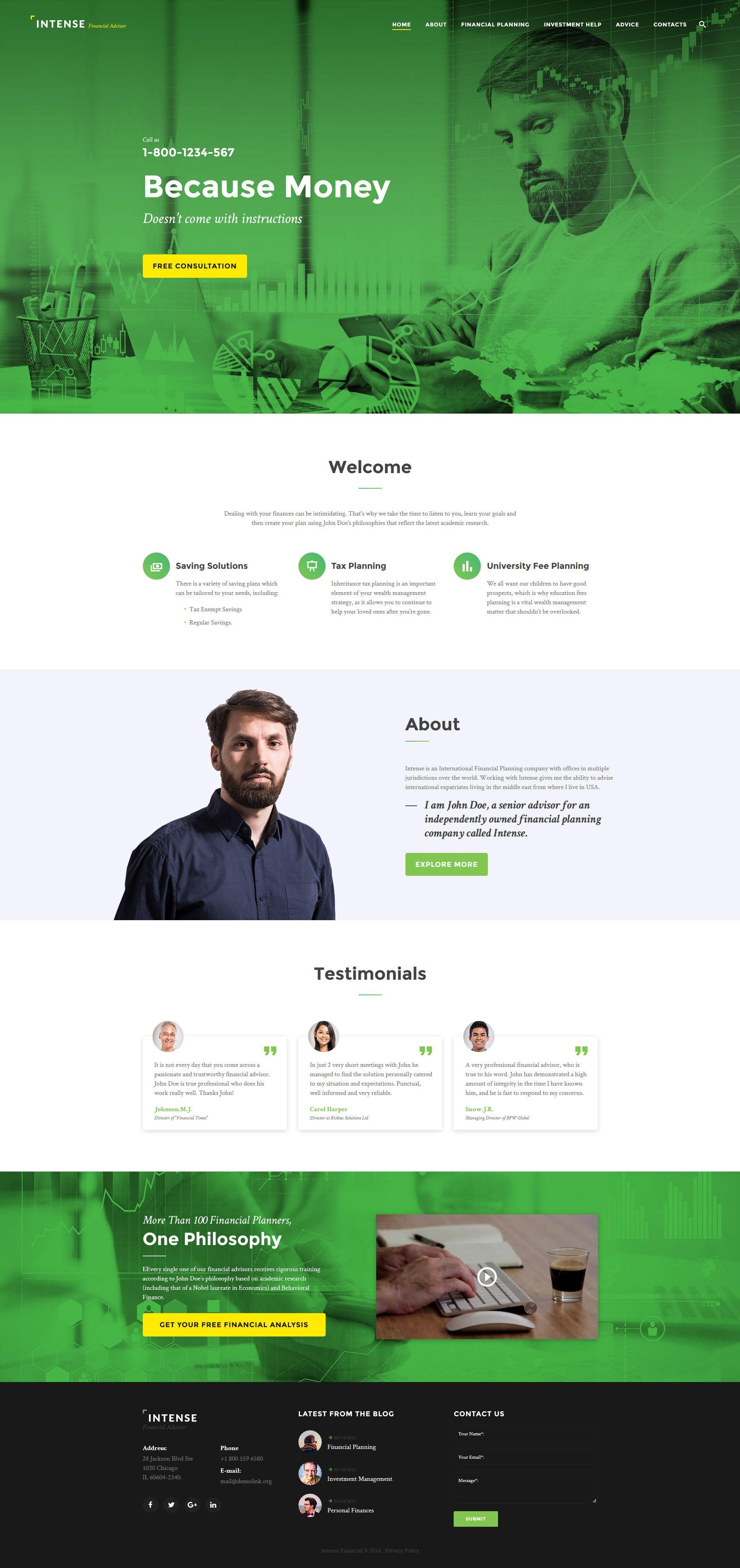 intense financial advisor website template | new website templates