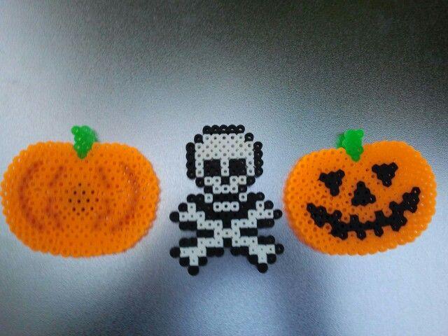 Halloween perler: pumpkin, skull, jack-o-lantern