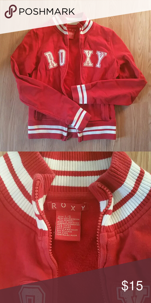 DONATING OR MAKE ME AN OFFER Radiant red Roxy letterman style jacket Roxy Jackets & Coats