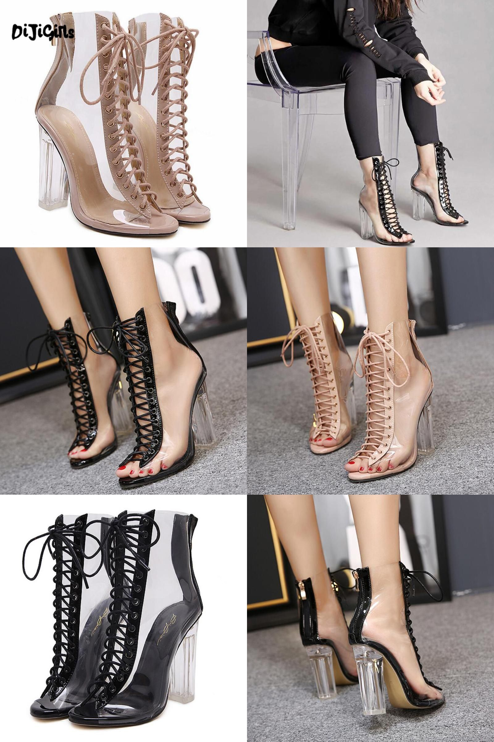 72b51c8b5ea7  Visit to Buy  Women Gladiator Sandals PVC Clear Block High Heel  Transparent Boots Lace