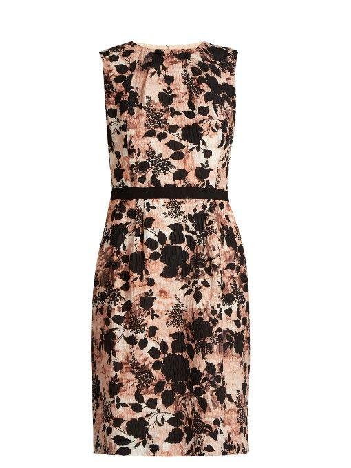 OSCAR DE LA RENTA Floral-Print Silk-Blend Seersucker Dress. #oscardelarenta #cloth #dress