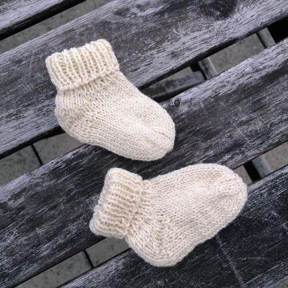 Handknitted Newborn Baby Socks In Ivory By Uschinie On Etsy Knit