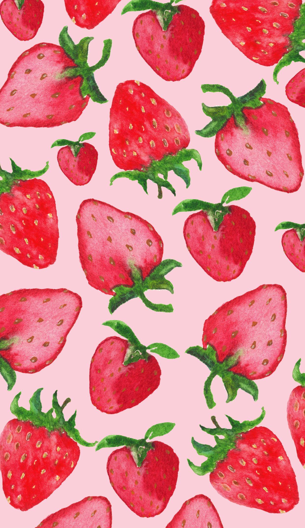 Strawberry Iphone6plus Jpg 1242 2148 フルーツ イラスト いちご イラスト おしゃれな壁紙背景