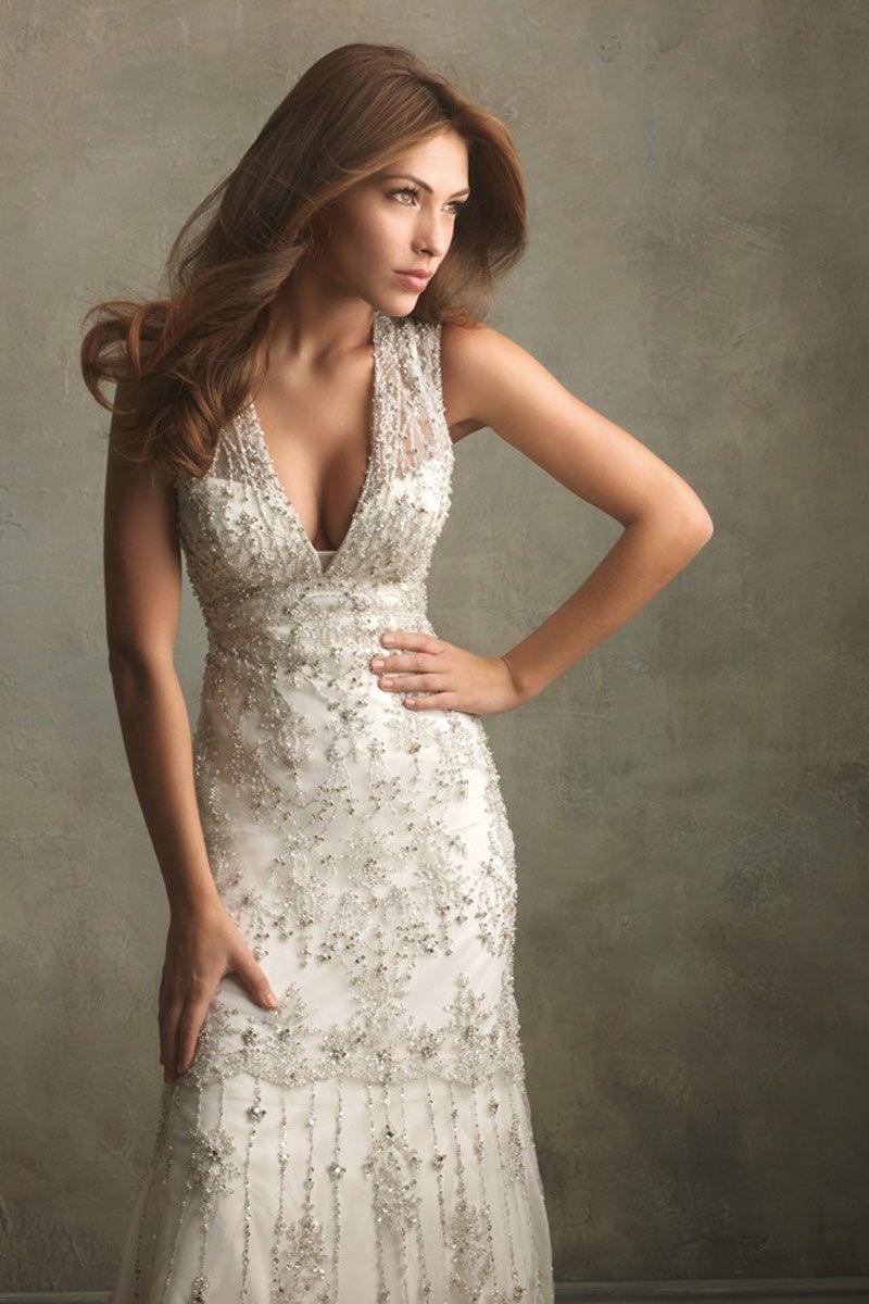 empire satin,lace brush train vneck column wedding dress