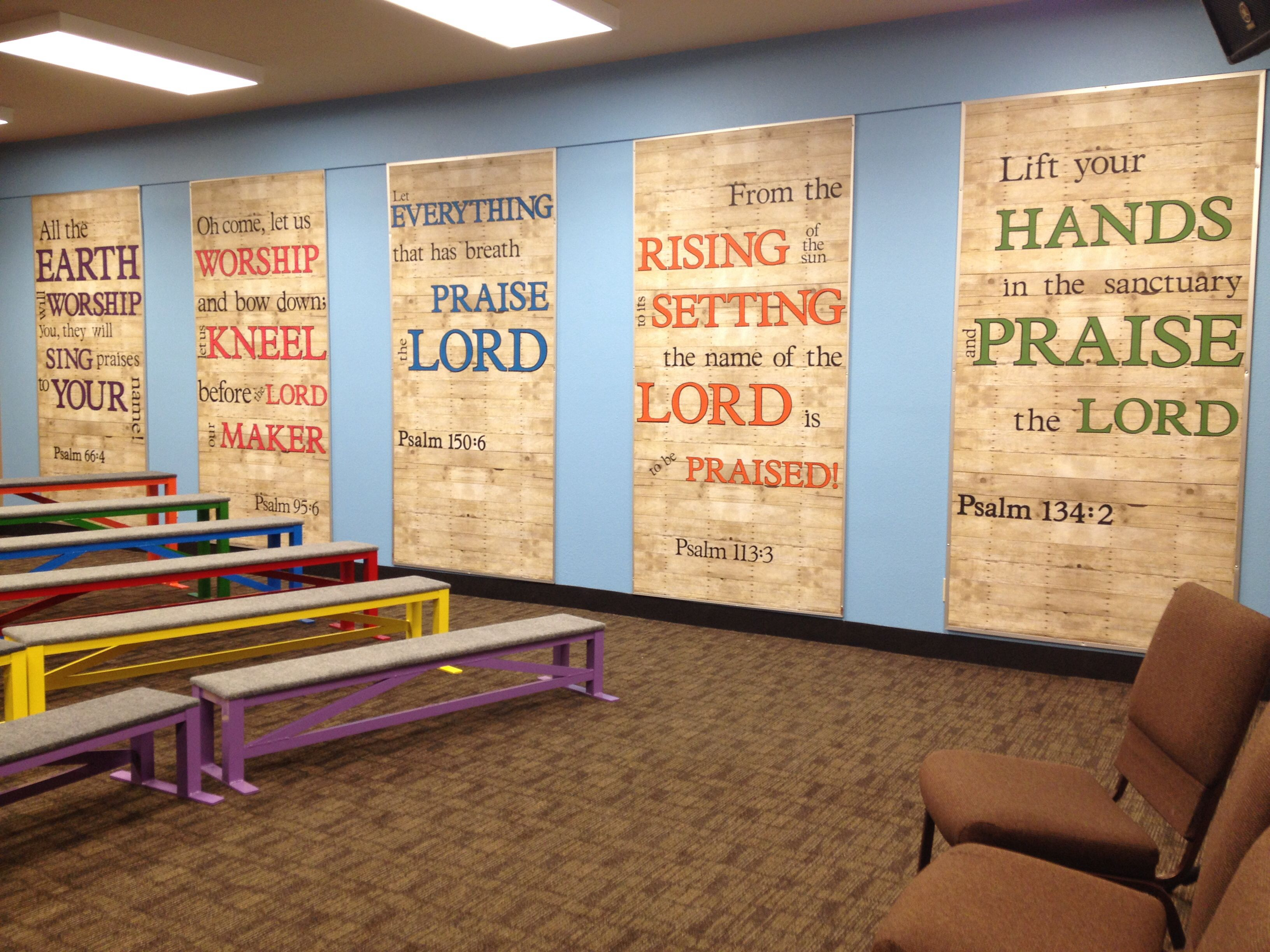 Wall of Praise! Cricut cut letters on vertically hung bulletin ...
