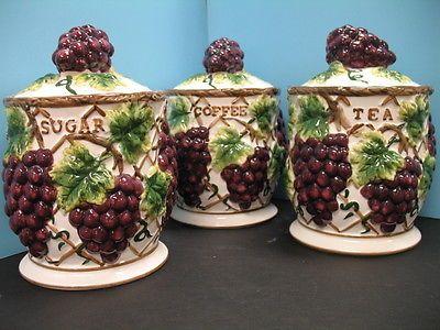 3 Pcs 3d Grape Canister Set Kitchen Decor Vineyard Wine