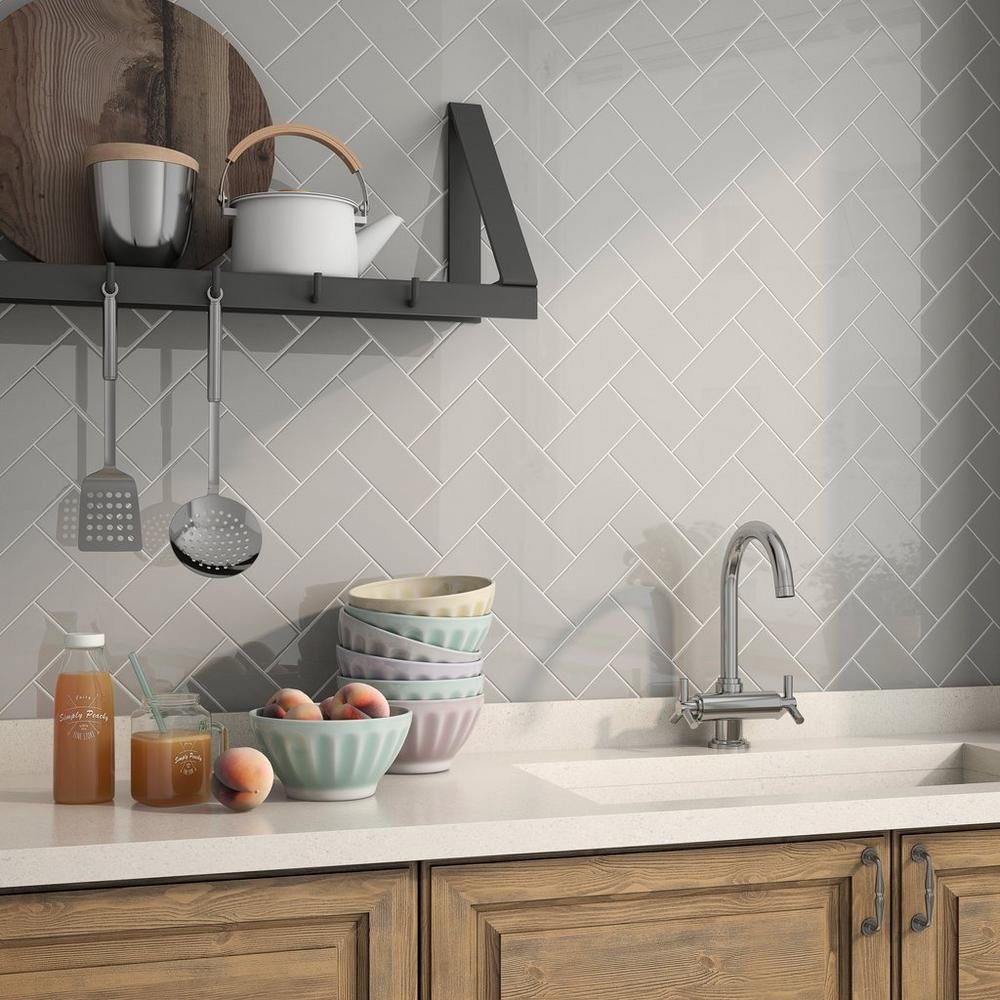 Bright Tender Gray Subway Ceramic Tile Bright Gray And Basement
