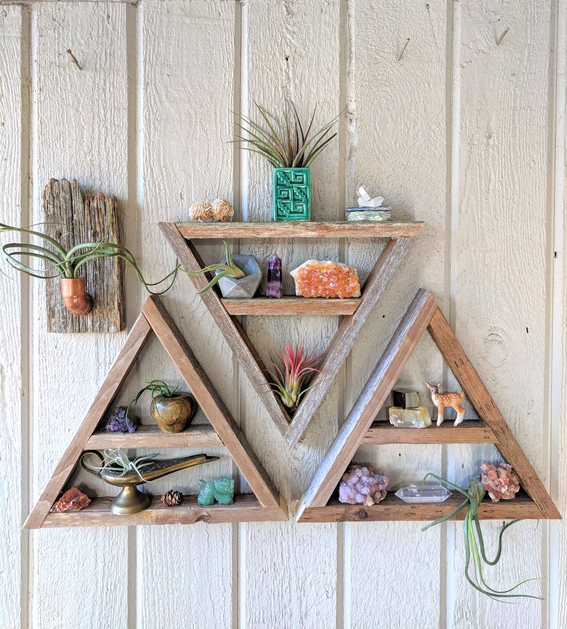 Three Triangle Shelves Geometric Wood Art Crystal Display