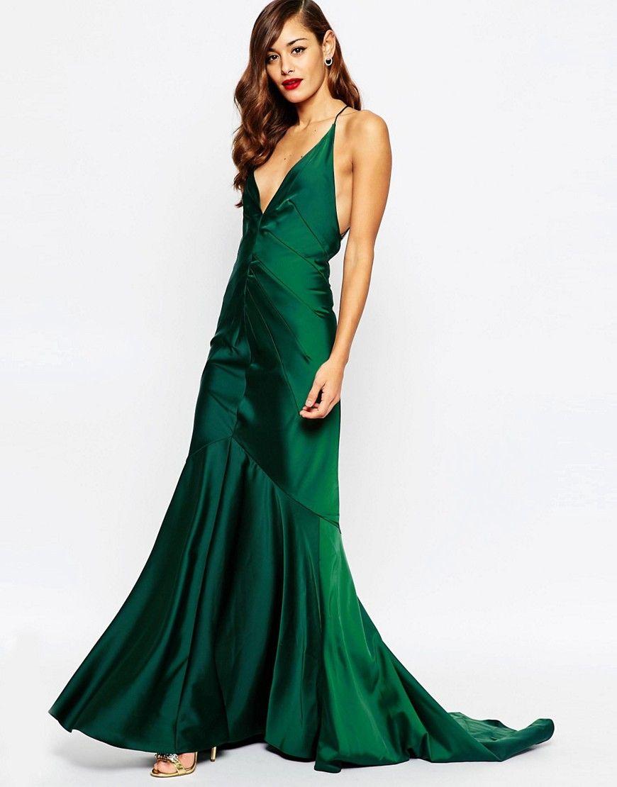 Emerald green satin maxi dress