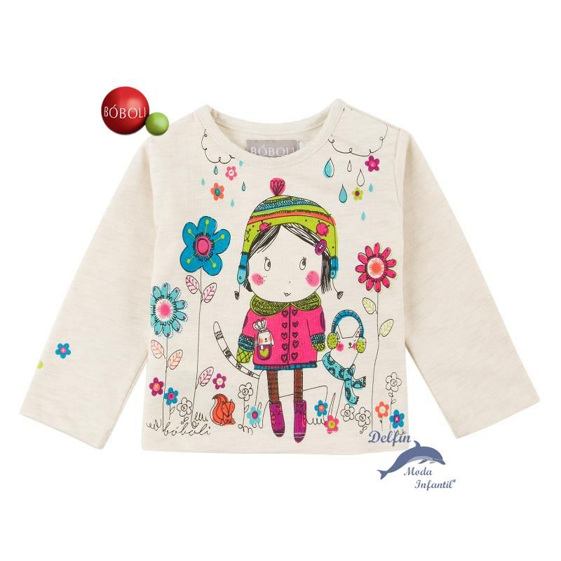 Camiseta de bebe para niña BOBOLI manga larga estampada muñeca