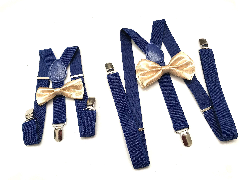 Gold Bow Tie Navy Blue Suspenders Mens Bowtie Rustic Wedding Gold Ring Bearer Outfit Groomsmen Bow Bowtie And Suspenders Royal Blue Suspenders Blue Suspenders