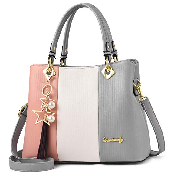 Feihuang Leather Handbags Cartoon Cute Diamond Colorful Shoulder Tote Bag Satchel Purse Zipper Top Handle For Women Girls