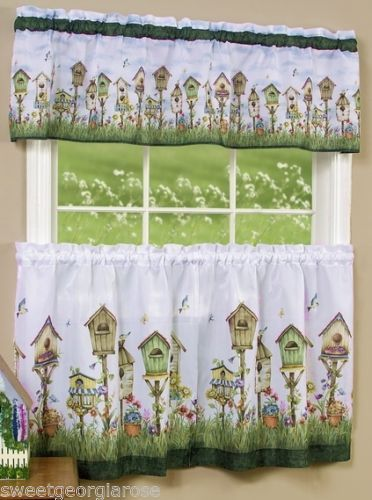 BIRDHOUSE-Kitchen-Valance-and-Tiers-Set-3pc-MultiColor-White-Green ...