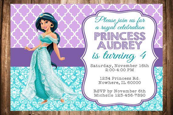 Princess Jasmine Birthday Invitation By Wonderstruckprints On Etsy