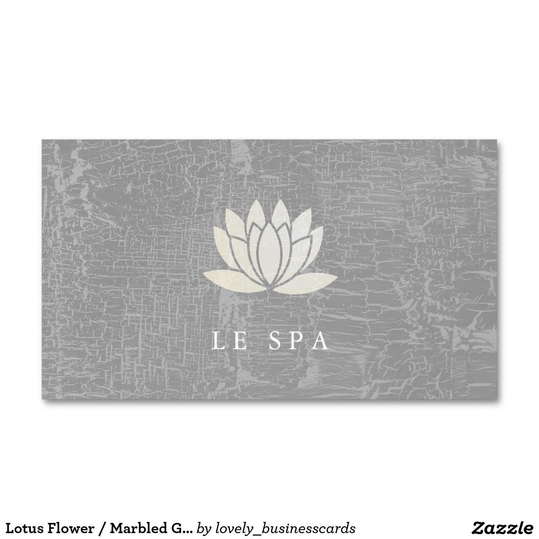 Lotus Flower / Marbled Gray Double-Sided Standard Business Cards ...