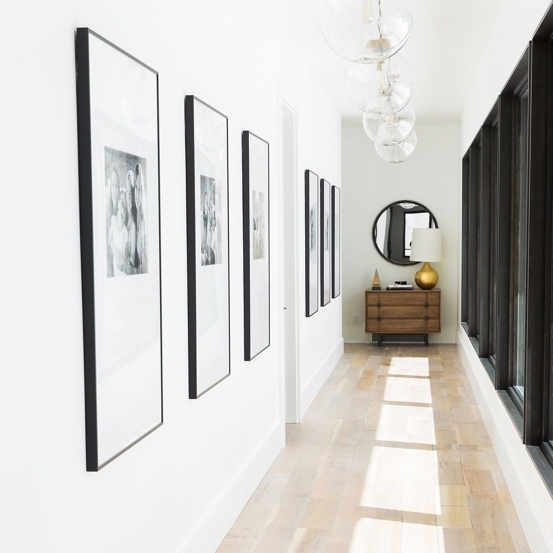 Hallway Gallery Wall, Black Frames With White Mats. Design U0026 Hang A Grid  Gallery