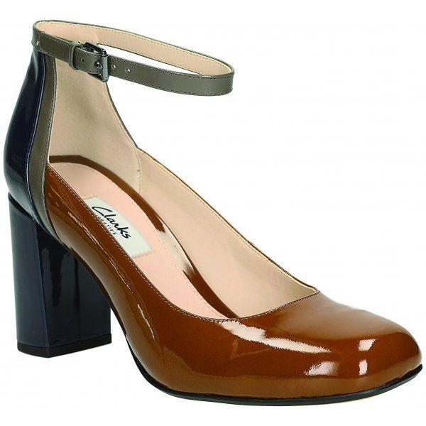Clarks Gabriel Candy Women's Shoes in Cognac or Black Patent