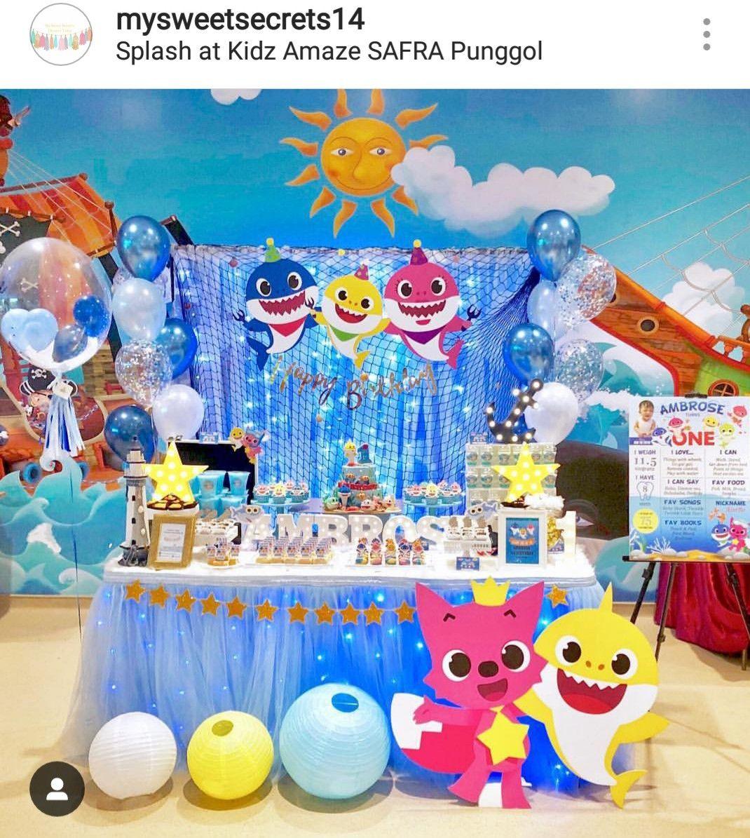 Baby Shark Doo Doo Doo Birthday Dessert Table And Decor Shark Themed Birthday Party Shark Theme Birthday Baby Boy 1st Birthday Party