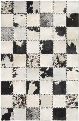 Cross Stitched Squares Hide Rug Black Cream Patchwork Cowhide Rug Patchwork Cowhide Patchwork Leather Rugs