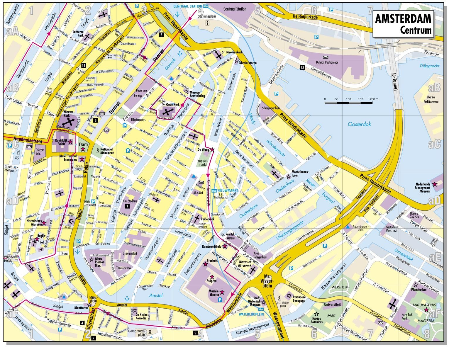 City map of amsterdam netherlands map of the city centre for Innenarchitektur niederlande