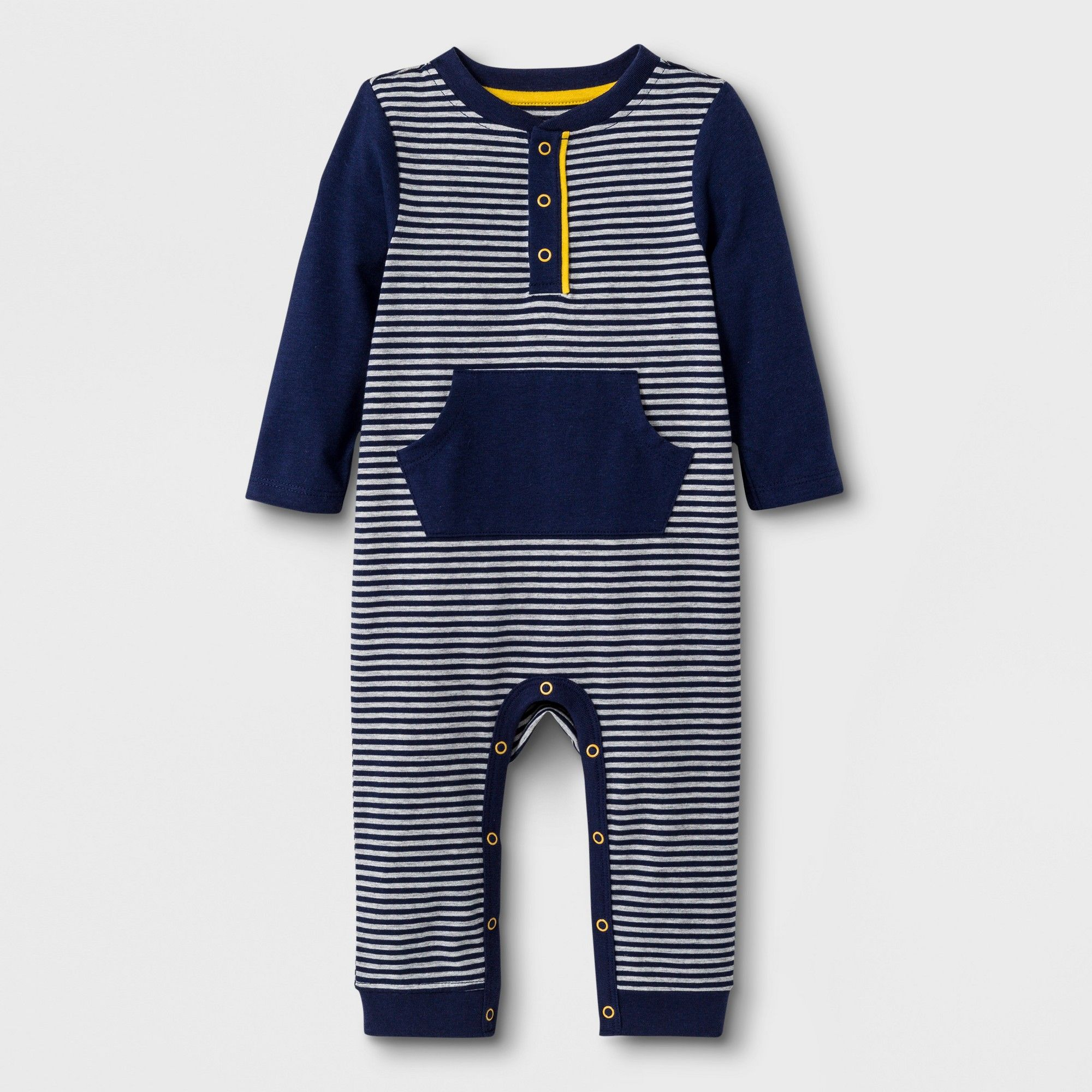 8aa28a5d8607 Baby Boys  Long Sleeve Mini Stripe Heley Romper - Cat   Jack Navy 0 ...