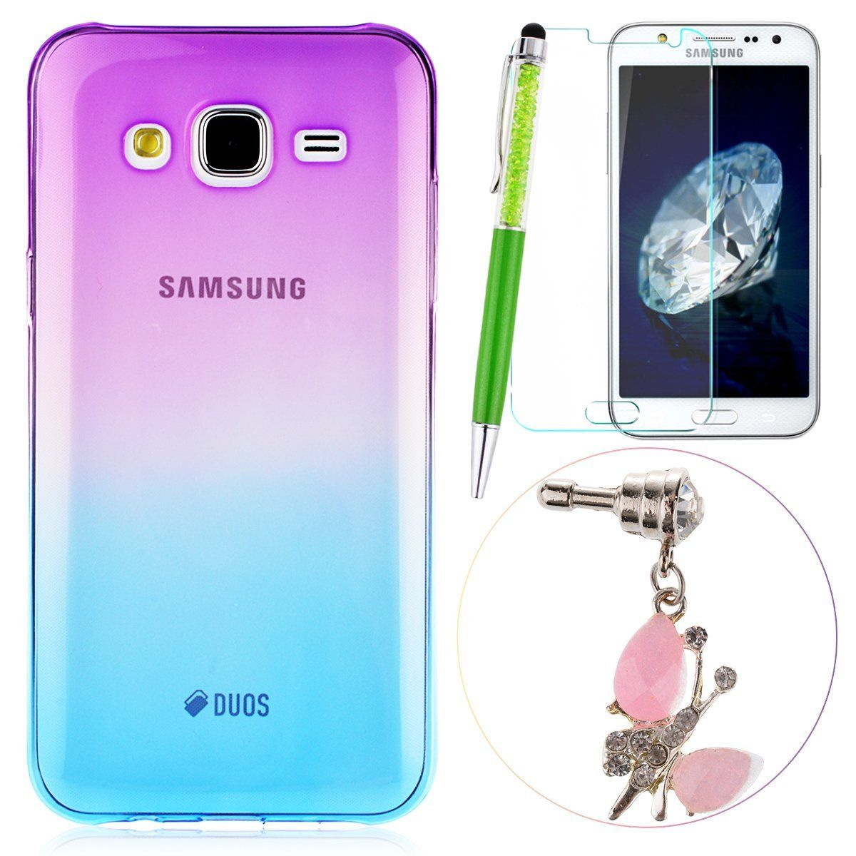 Gradient Case for Samsung Galaxy J5 GrandEver Purple Yellow Gradient Silicone Cover Soft TPU Back Cover Colourful Gradient Cover Protective Case Bumper Soft Rubber Shell Simple Light Cover + {Stylus Pen} + {Dust Plug} + {Screen Protector}: Amazon.co.uk: Kitchen & Home