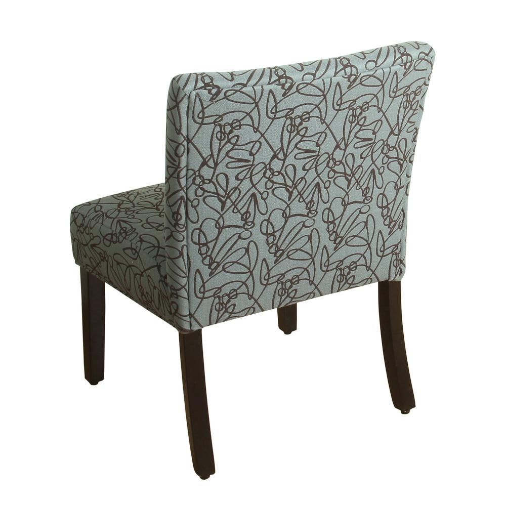 Homepop swirl pattern in teal parker accent chair and pillow blue