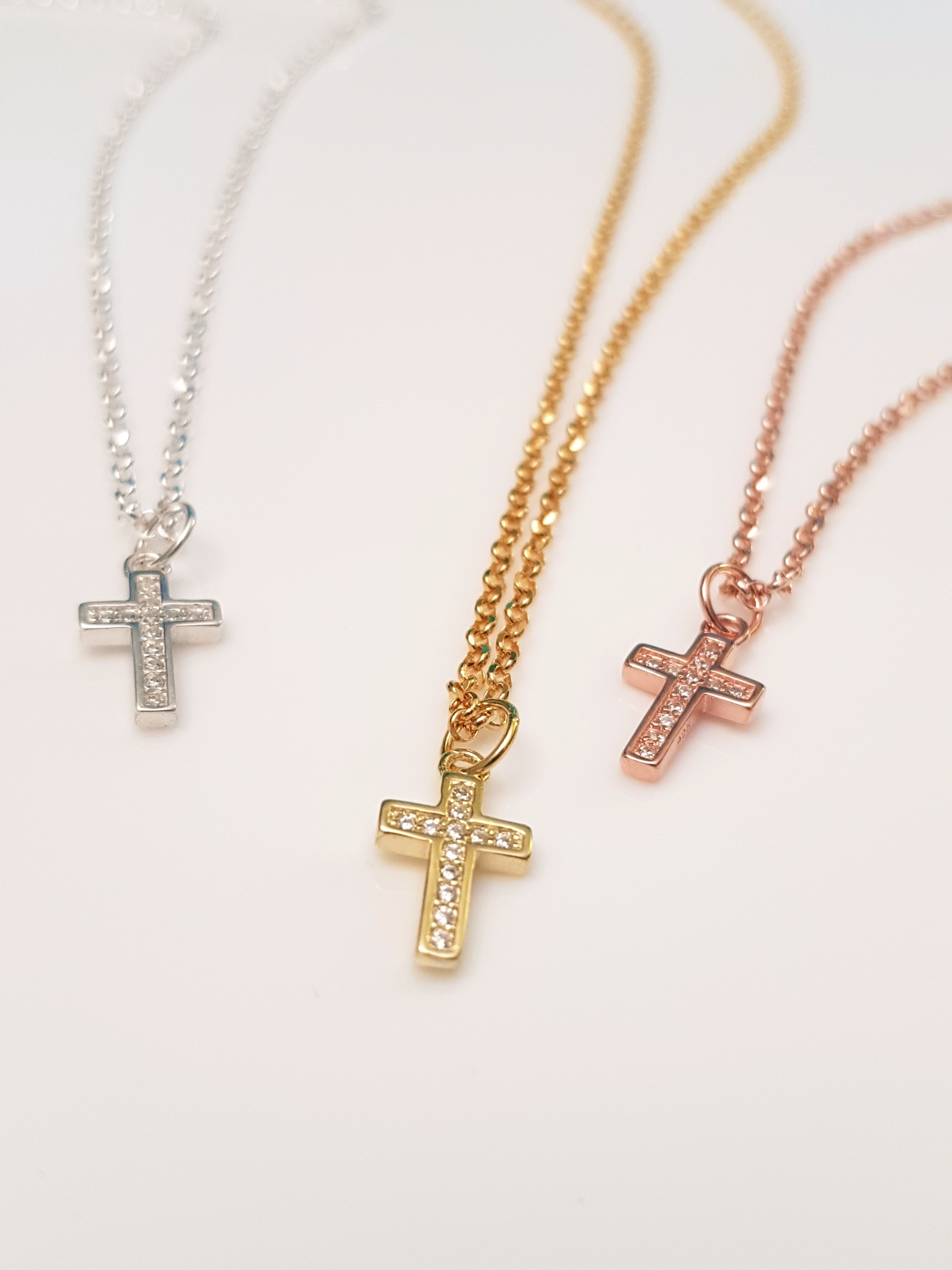 Cross necklace cz sterling silver yellow rose gold crystal cross