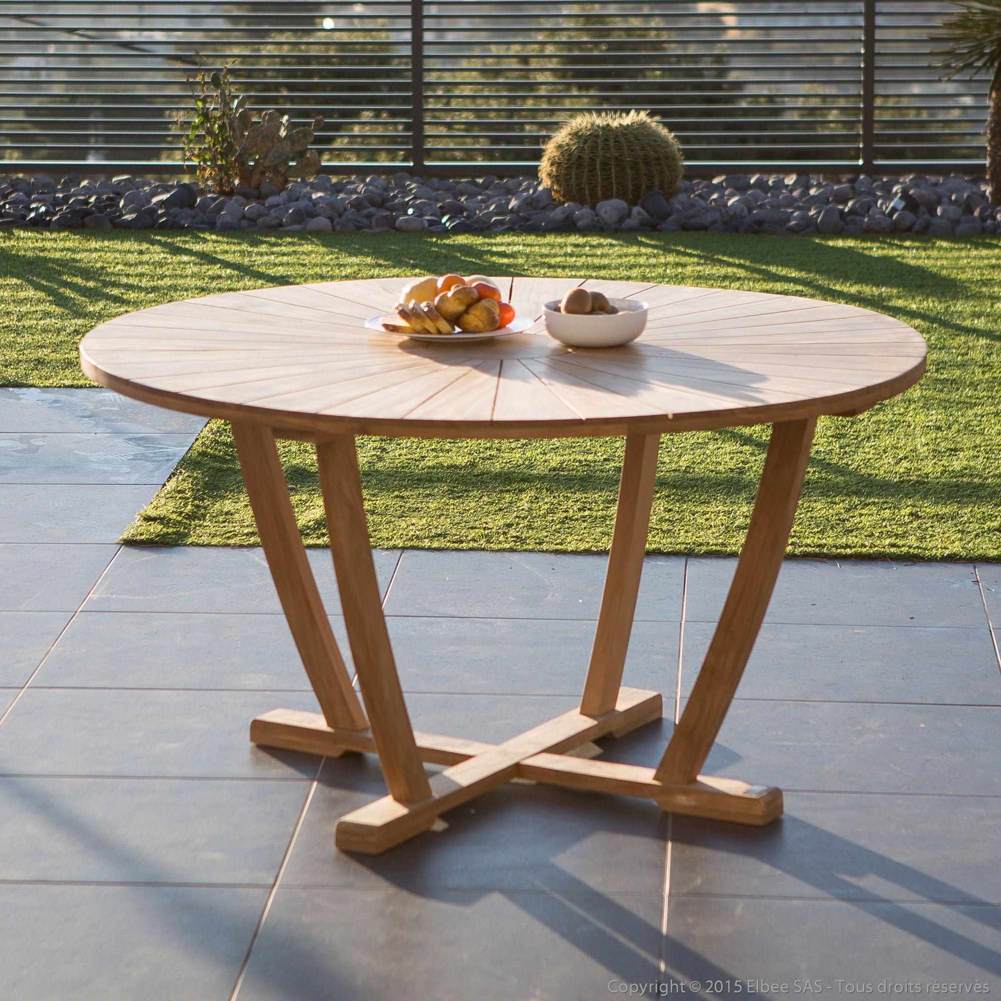Table de jardin ronde en teck brut 140cm PALMA Ermanno G ...