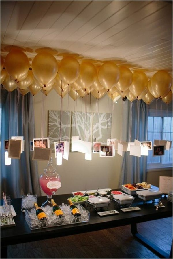 wunderbare silvester deko mit goldenen ballons feier geburtstag silvester und party. Black Bedroom Furniture Sets. Home Design Ideas