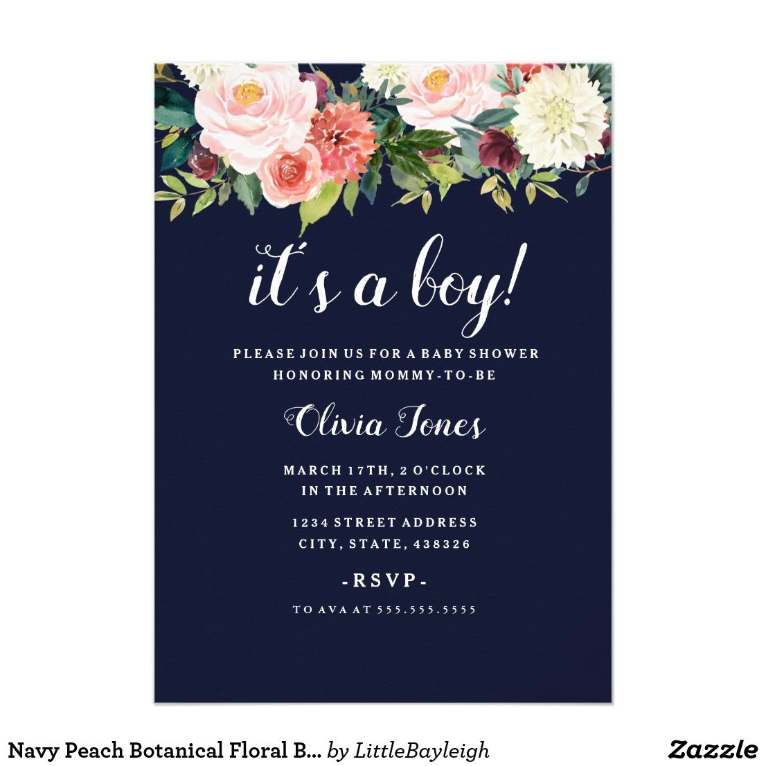 Navy Peach Botanical Floral Baby Shower Card