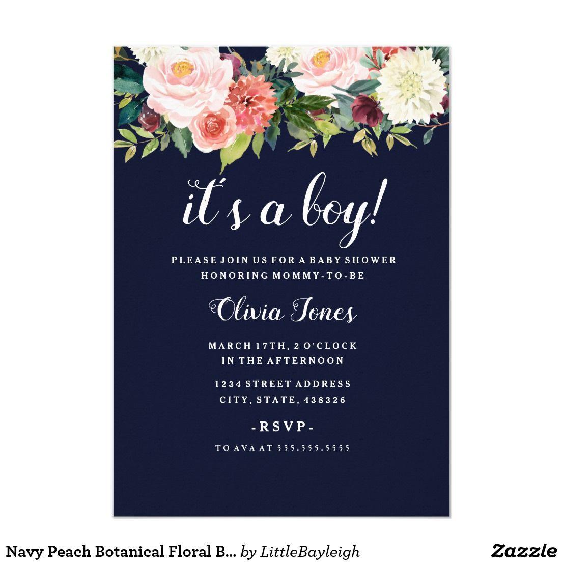 Navy Peach Botanical Floral Baby Shower Card