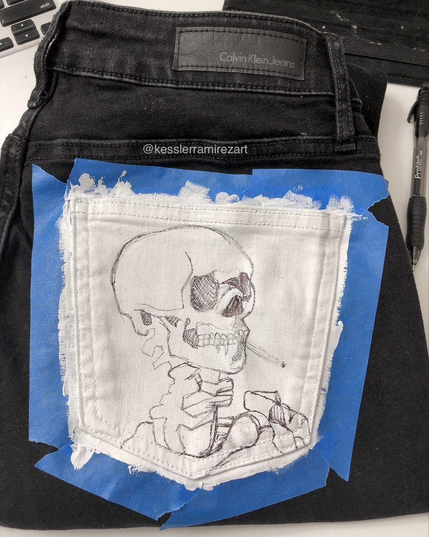 Van Gogh skull painting on denim pocket #paintfabric ...