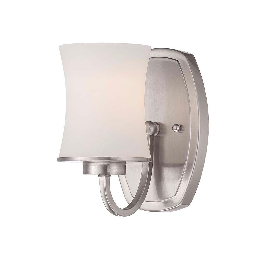 Hampton Bay 1-Light Chrome Sconce with Frosted Glass Shade Polised Look Home New