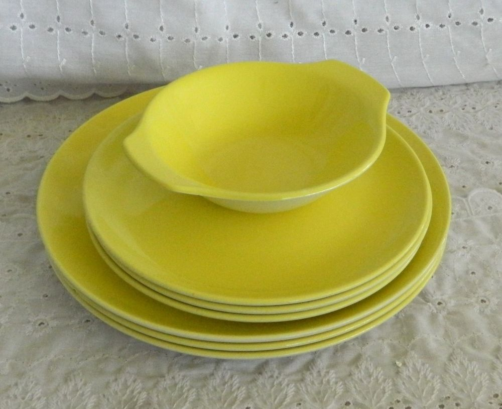 7 Pcs Poole Pottery England P003 Yellow Dinner \u0026 Salad Plates Lugged Bowl # Poole : poole pottery dinner plates - pezcame.com