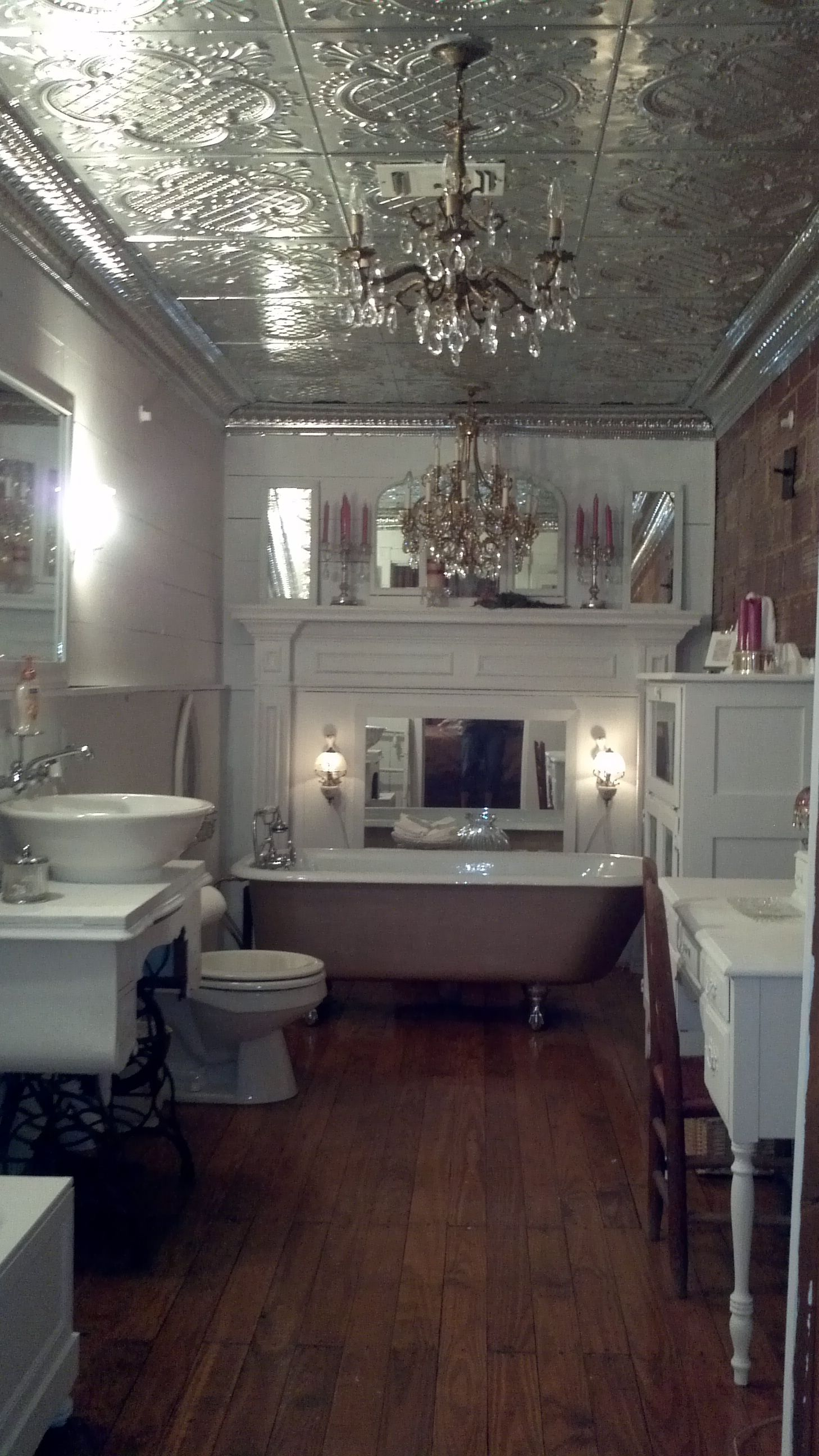 Tin Ceiling In I Want This In Silver People Always Paint Them Ceiling Tiles Bathroom Bathroom Ceiling Tin Ceiling