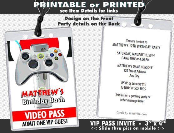 XBox Video VIP Pass Birthday Party Invitation Printable Video - Birthday party invitation videos