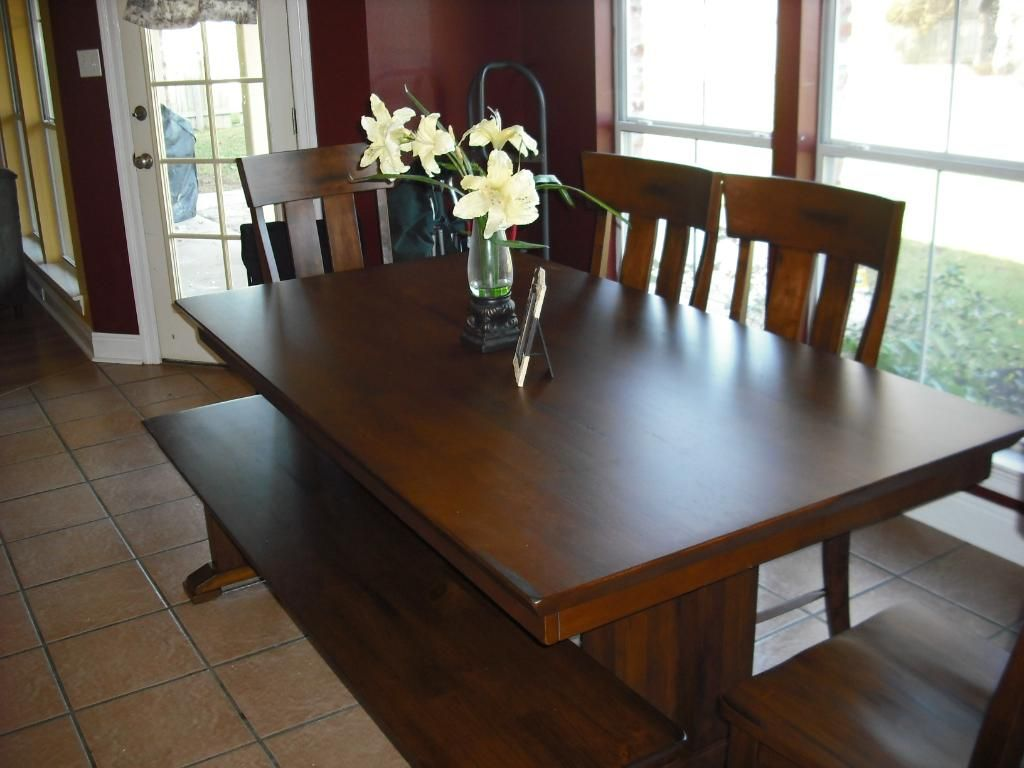 I Found This World Market Lugano Dining Bench Marked Down At The Guild Today It Would Match My Ethan Allen Cameron Trestle Table