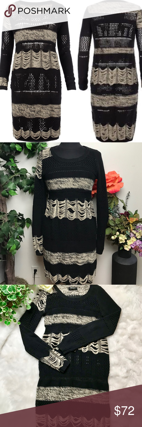 All Saints Black Cream Knitted Sweater Dress 6 (With images